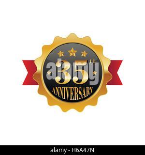 35 years anniversary golden label - Stock Photo