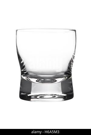Empty glass of whiskey  isolated on white background - Stock Photo