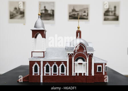 Moscow, Russia. 26th Oct, 2016. A mock-up of the Church of St Nicholas in Zaryadye on display at an exhibition titled - Stock Photo
