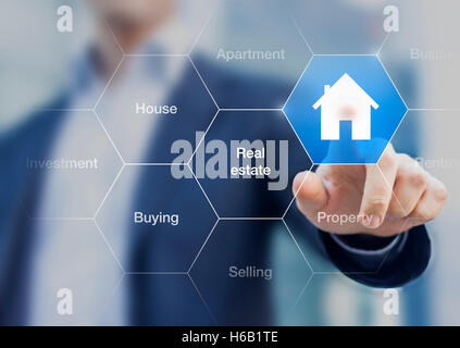 Real estate agent pushing a button with a symbol of house on a transparent screen - Stock Photo