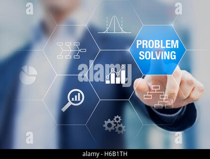 Problem solving concept with root cause diagram and quality controls charts on a transparent touch screen with a - Stock Photo