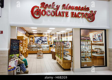 St. Saint Augustine Florida Outlets shopping front entrance Rocky Mountain Chocolate Factory desserts candy chocolates - Stock Photo