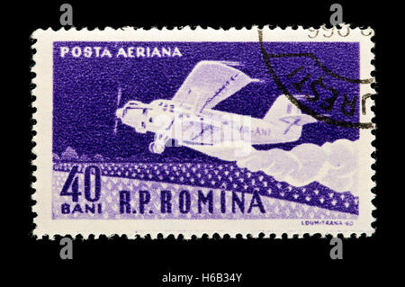 Postage stamp from Romania depicting an airplane - Stock Photo