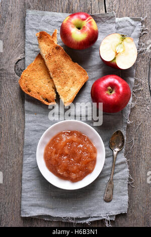 Apple jam and toast bread, top view - Stock Photo
