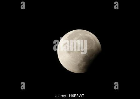Lunar Eclipse, Red supermoon, Blood moon / Blutmond, waning, decrescent, 28th September 2015, detailed shot. - Stock Photo