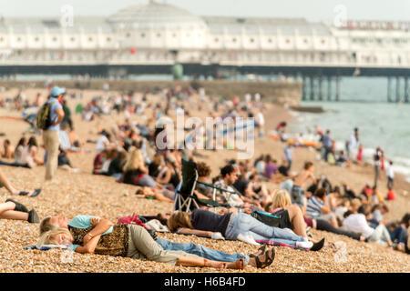 Surfers and sunbathers on Brighton beach - Stock Photo