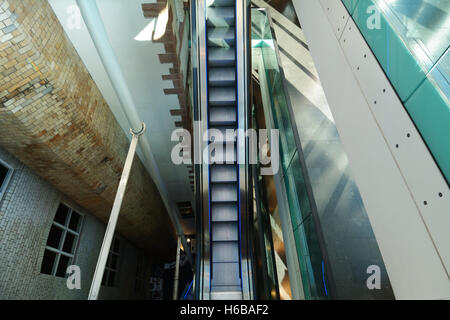 United Kingdom, Scotland, Glasgow, The Lighthouse Centre for Design and Architecture, escalator - Stock Photo