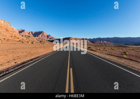 Lees Ferry Road inside the Glen Canyon National Recreation Area in Northern Arizona. - Stock Photo