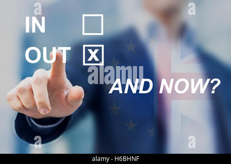 Uncertainty after United Kingdom voted for leaving the European Union, questions about future of Europe, new negotiations - Stock Photo