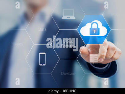 Expert consultant about cloud security protecting networks and devices against cyber attacks - Stock Photo