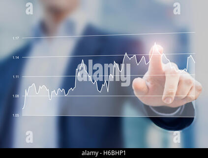 Financial business graph on computer interface with hand of businessman touching the chart - Stock Photo