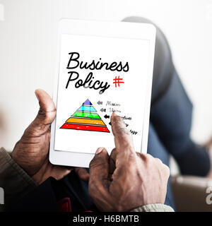 Business Policy Action Pyramid Concept - Stock Photo