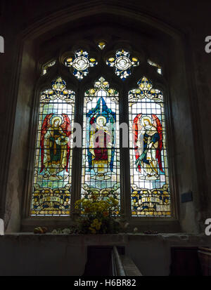 Stained glass window in St John the Baptist church Finchingfield Essex England 2016 - Stock Photo