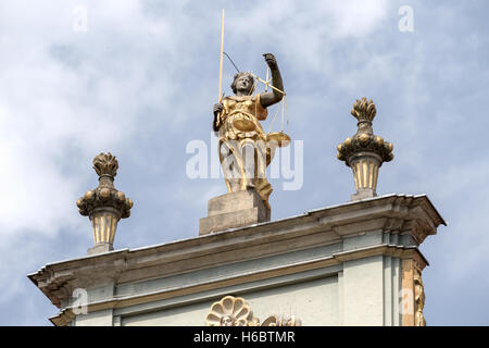 Statue, Scales of Justice Gable Ulica Dluga (Dluga Street) Gdansk Poland - Stock Photo