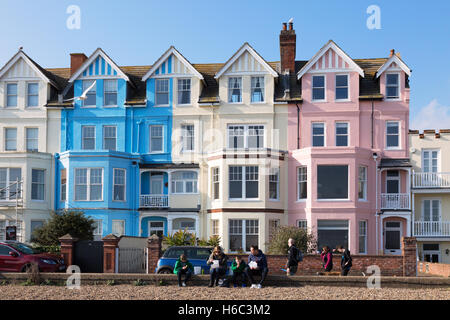 Colourful terraced victorian houses on Aldeburgh seafront, Aldeburgh, Suffolk England UK - Stock Photo