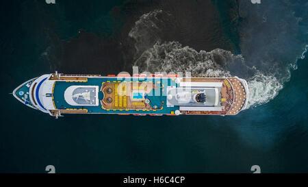 AIDA Cara Cruise Ship in Reykjavik Harbor, Iceland - Stock Photo