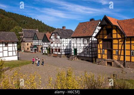 Germany, Hagen, Hagen Open-air Museum, half-timbered houses on the village square. - Stock Photo