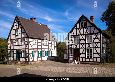 Germany, North Rhine-Westphalia, Hagen, Hagen Open-air Museum, half-timbered houses. - Stock Photo