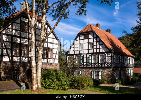 Germany, Hagen, Hagen Open-air Museum, paper mill and printing office. - Stock Photo