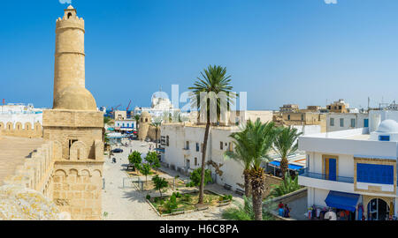 The walls of Ribat overlooks the old town and the mediterranean coast - Stock Photo