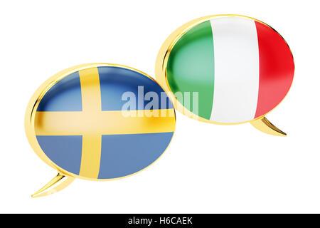 Speech bubbles, Italian-Swiss translation concept. 3D rendering - Stock Photo