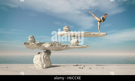 Young gymnast doing ballet on stones in balance. This is a 3d render illustration - Stock Photo