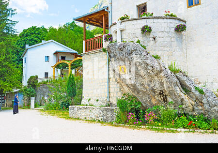 The small Ostrog Donji Monastery is the notable landmark of Montenegro. - Stock Photo