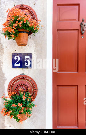 Charming Scene of a Wood Framed Door Decorated with Flowers in the Charleston Historic District, South Carolina - Stock Photo