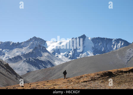 the high himalayan peaks in the remote Damodar Himal  Mustang region of Nepal - Stock Photo