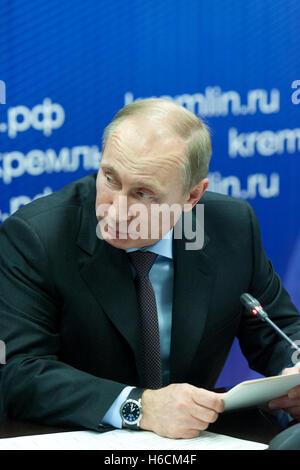 Saint Petersburg, Russia - November 22 2013.  President of the Russian Federation Vladimir  Putin during his visit - Stock Photo