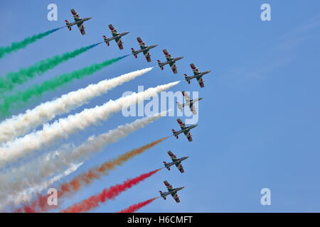 The Frecce Tricolore performed their display at the Royal International Air Tattoo RIAT 2014 at Fairford, UK - Stock Photo