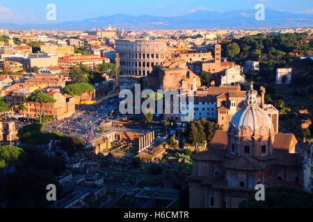 Coliseum, Rome, from Altare della Patria. - Stock Photo