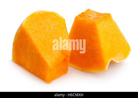 sliced pumpkin chunks isolated - Stock Photo
