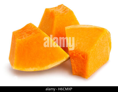 sliced pumpkin chunks isolated - Stock Photo