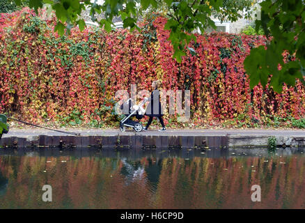 Young mother with baby buggy walks along Regents Canal in autumn, Islington, London - Stock Photo