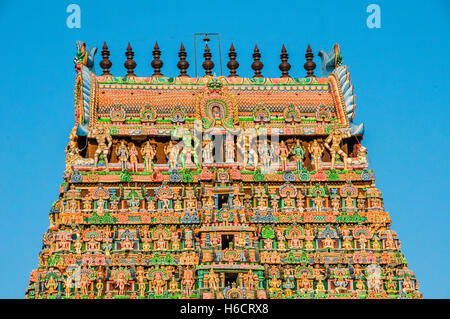 Colourfully decorated Gopuram gate tower of Minakshi or Sri Meenakshi Sundareshwara Temple, Madurai, Tamil Nadu, - Stock Photo