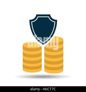 insurance currency money coin icon design vector illustration - Stock Photo
