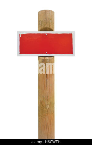 Red painted prohibition warning sign board horizontal metal signage white frame, wooden pole post copy space background - Stock Photo