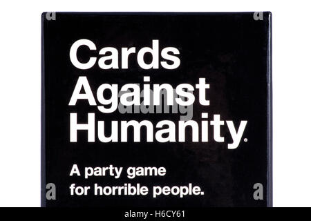 LONDON, UK - OCTOBER 21ST 2016: A close-up shot of the packaging to the Cards Against Humanity party game (UK Edition). - Stock Photo