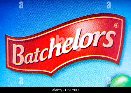 LONDON, UK - OCTOBER 13TH 2016: A close-up shot of the Batchelors logo on one of their food products, on 13th October - Stock Photo