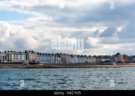 A view of Aberystwyth seafront properties and beach as seen from the sea - Stock Photo