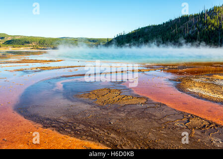 Steam rising from Grand Prismatic Spring in Yellowstone National Park - Stock Photo