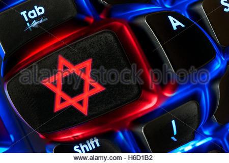 Star Of David Symbol Shown On A Backlit Keyboard Dorset England