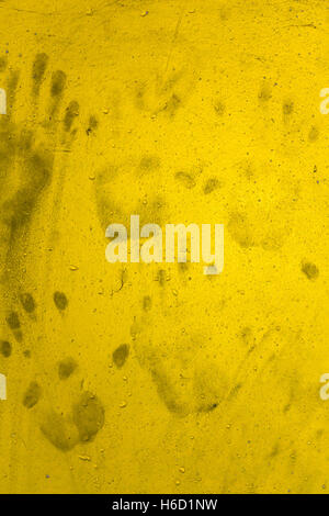Dirty Hand prints on yellow wall. Ideas for background Halloween ...