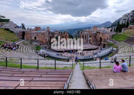 Teatro Greco, Taormina, Sicily, Italy - Stock Photo