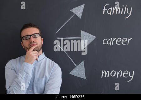 Businessman is trying to find solutions for his future - Stock Photo