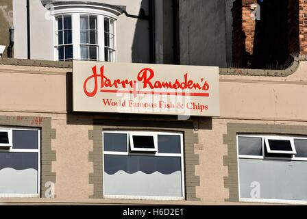 Harry Ramsdens world famous fish and chips sign in Scarborough North Yorkshire England UK - Stock Photo