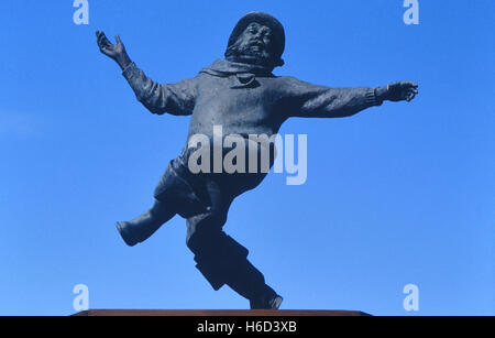 Jolly fisherman statue. Skegness. Lincolnshire. England. UK - Stock Photo