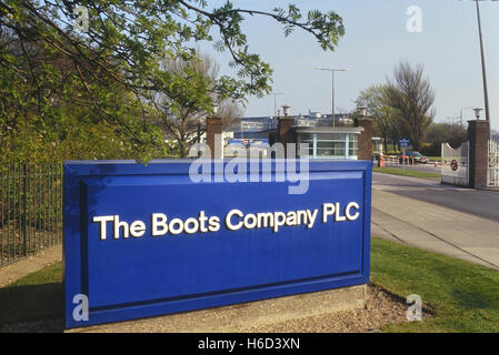 The Boots company PLC main entrance Humber Road. Beeston. Nottingham. East Midlands, England, UK. Circa 1990's - Stock Photo
