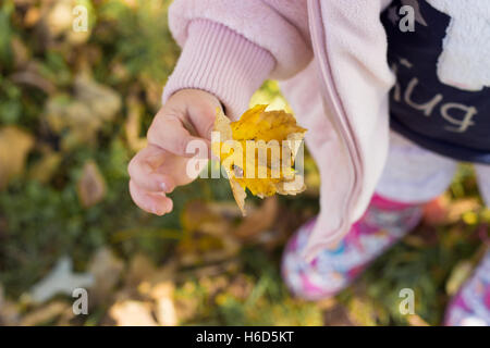 Autumn in the park; little girl holding a yellow leaf with a ladybug on it - Stock Photo